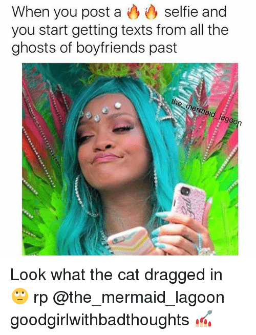 Memes, Selfie, and Mermaids: selfie and  When you post a  you start getting texts from all the  ghosts of boyfriends past  th Look what the cat dragged in 🙄 rp @the_mermaid_lagoon goodgirlwithbadthoughts 💅🏼