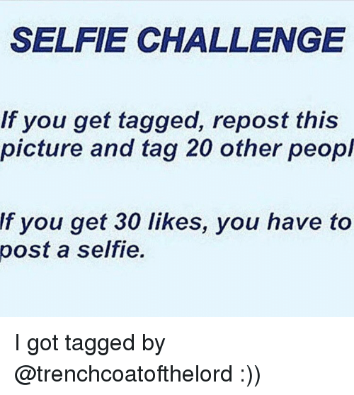 Memes, 🤖, and Repost: SELFIE CHALLENGE  If you get tagged, repost this  picture and tag 20 other peopl  f you get 30 likes, you have to  post a selfie. I got tagged by @trenchcoatofthelord :))