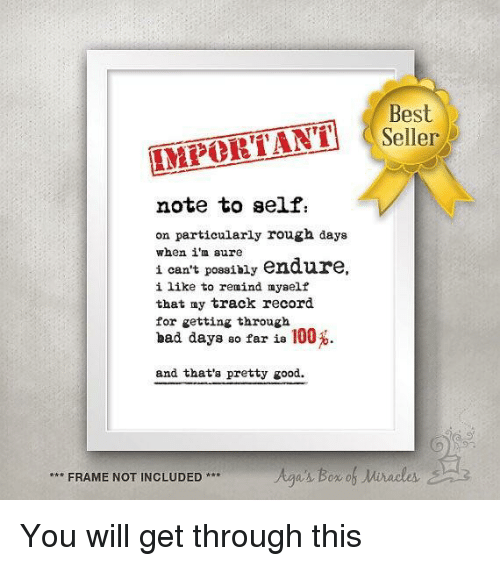 endure: Seller  IMPORTANT  note to self  on partieularly rough days  when i'm aure  i can't possibly endure  i like to remind myaelf  that ny track record  for getting through  bad days so far is 100%  and that's pretty good  FRAME NOT INCLUDED** <p>You will get through this</p>