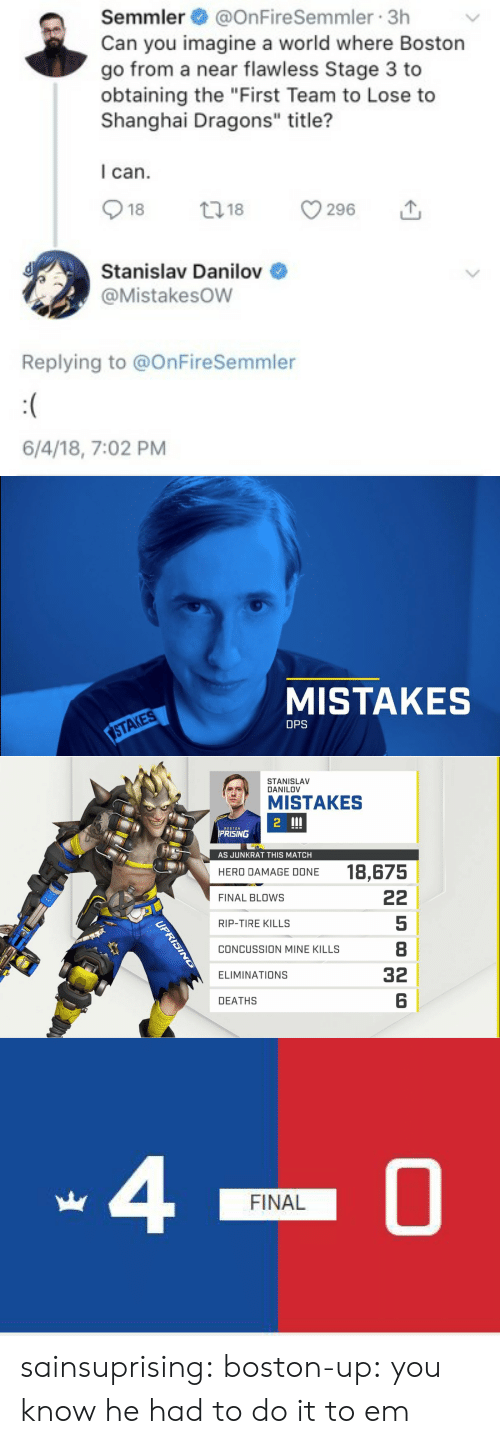 """Concussion: Semmler@OnFireSemmler 3h  Can you imagine a world where Boston  go from a near flawless Stage 3 to  obtaining the """"First Team to Lose to  Shanghai Dragons"""" title?  I can.  018 18 296 1,  Stanislav Danilov  @Mistakesow  Replying to @OnFireSemmler  6/4/18, 7:02 PM   MISTAKES  STAKES  DPS   STANISLAV  DANILOV  MISTAKES  2  BOSTON  PRISING  51  AS JUNKRAT THIS MATCH  18,675  HERO DAMAGE DONE  FINAL BLOws  RIP-TIRE KILLS  CONCUSSION MINE KILLS  ELIMINATIONS  DEATHS  5  8  32  6   40  FINAL sainsuprising: boston-up:  you know he had to do it to em"""