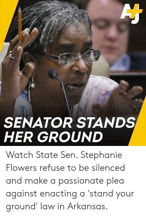 senator: SENATOR STANDS  HER GROUND Watch State Sen. Stephanie Flowers refuse to be silenced and make a passionate plea against enacting a 'stand your ground' law in Arkansas.