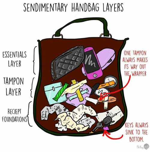 Tampon: SENDIMENTARY HANDBAG LAYERS  ONE TAMPON  ESSENTIALS  ALWAYS MAKES  LAYER  ITS WAY OUT  THE WRAPPER  RECIEPT  FOUNDATIONS  KEYS ALWAYS  SINK TO THE  BOTTOM