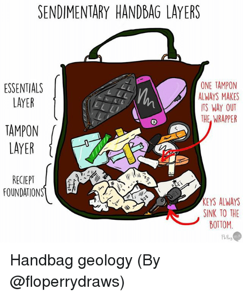Tampon: SENDIMENTARY HANDBAG LAYERS  ONE TAMPON  ESSENTIALS  ALWAYS MAKES  LAYER  ITS WAY OUT  THE WRAPPER  TAMPON  LAYER  RECIEPT  FOUNDATIONS  KEYS ALWAYS  SINK TO THE  BOTTOM Handbag geology (By @floperrydraws)