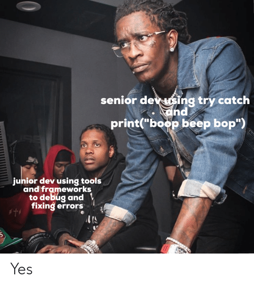 "Errors: senior dev sing try catch  and  print(""boop beep bop"")  junior dev using tools  and frameworks  to debug and  fixing errors Yes"