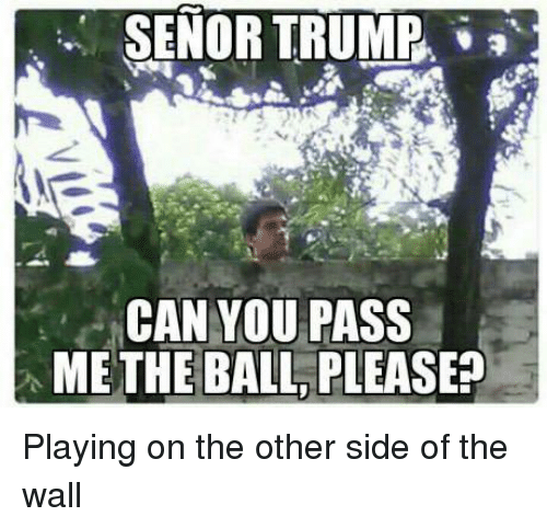 Other Side Of The Wall: SENOR TRUMP,  CAN YOU PASS  ME THE BALL PLEASE Playing on the other side of the wall