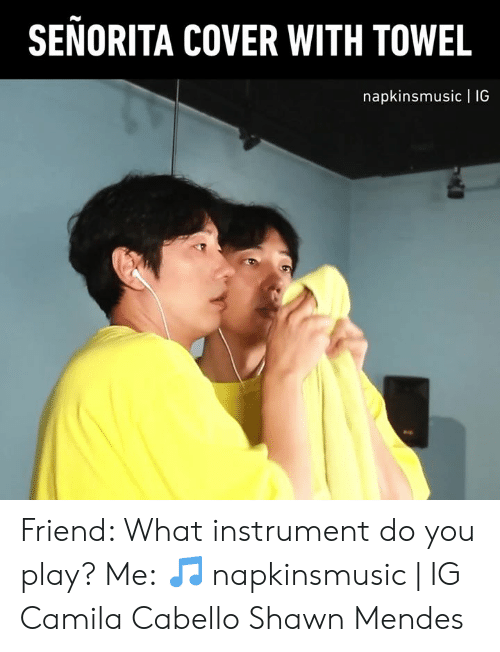 Camila Cabello: SENORITA COVER WITH TOWEL  napkinsmusic | 1IG Friend: What instrument do you play? Me:  🎵 napkinsmusic | IG  Camila Cabello Shawn Mendes