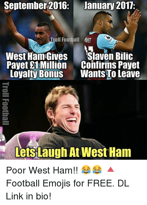 September 2016 January 2017 Troll Football West Ham Gives ... Funny Football Trolls 2017