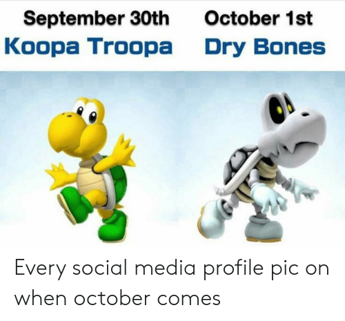 dry bones: September 30th  Koopa Troopa  October 1st  Dry Bones Every social media profile pic on when october comes
