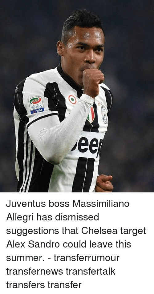 Alex Sandro: SERIEA Juventus boss Massimiliano Allegri has dismissed suggestions that Chelsea target Alex Sandro could leave this summer. - transferrumour transfernews transfertalk transfers transfer