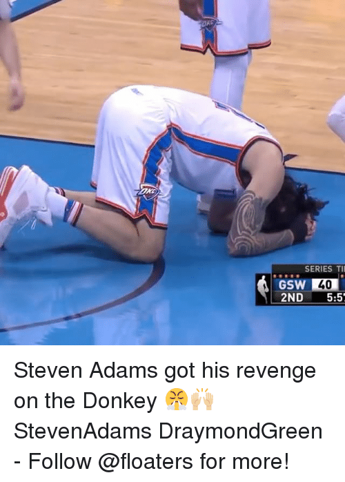 Donkey, Memes, and Revenge: SERIES TI  40  GSW  2ND 5:5 Steven Adams got his revenge on the Donkey 😤🙌🏼 StevenAdams DraymondGreen - Follow @floaters for more!