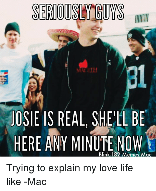 Seriously Guys: SERIOUS GUYS  JOSIE IS REAL, SHELL BE  HERE ANY MINUTE NOW  Blink-182 Memes Mac Trying to explain my love life like -Mac