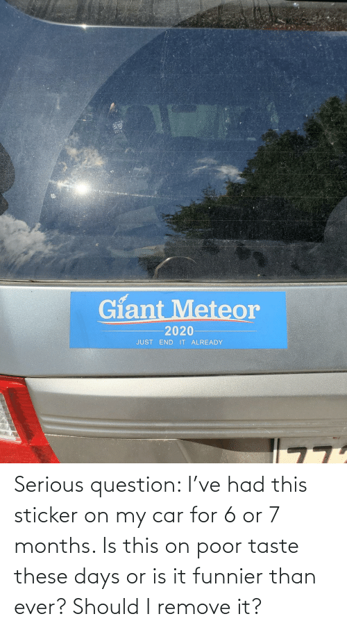 these days: Serious question: I've had this sticker on my car for 6 or 7 months. Is this on poor taste these days or is it funnier than ever? Should I remove it?
