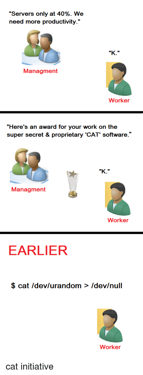 """proprietary: """"Servers only at 40%. We  need more productivity.'""""  Managment  Worker  """"Here's an award for your work on the  super secret & proprietary 'CAT' software.'  Managment  Worker  EARLIER  $ cat Idev/urandom > Idev/null  Worker cat initiative"""