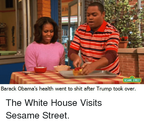 white-house-visits: SESAME STREET  Barack Obama's health went to shit after Trump took over. The White House Visits Sesame Street.