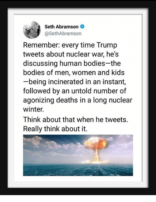 Bodies , Winter, and Kids: Seth Abramson  @SethAbramson  Remember: every time Trump  tweets about nuclear war, he's  discussing human bodies-the  bodies of men, women and kids  being incinerated in an instant,  followed by an untold number of  agonizing deaths in a long nuclear  winter.  Think about that when he tweets.  Really think about it.