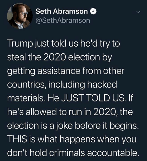 hacked: Seth Abramson  @SethAbramson  Trump just told us he'd try to  steal the 2020 election by  getting assistance from other  countries, including hacked  materials. He JUST TOLD US. If  he's allowed to run in 2020, the  election is a joke before it begins.  THIS is what happens when you  don't hold criminals accountable.