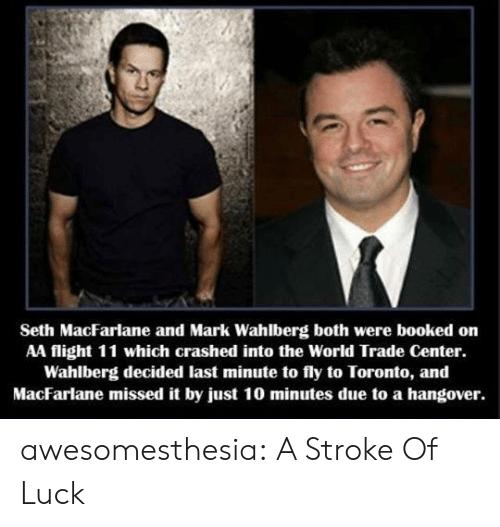 Toronto: Seth MacFarlane and Mark Wahlberg both were booked on  AA flight 11 which crashed into the World Trade Center.  Wahlberg decided last minute to fly to Toronto, and  MacFarlane missed it by just 10 minutes due to a hangover. awesomesthesia:  A Stroke Of Luck
