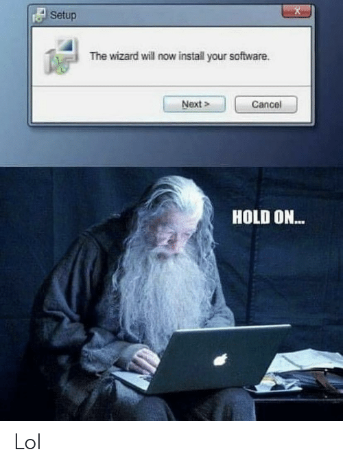 the wizard: Setup  The wizard will now install your software  Next>  Cancel  HOLD ON... Lol
