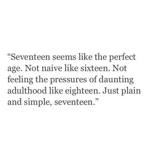 """Naive: Seventeen seems like the perfect  age. Not naive like sixteen. Not  feeling the pressures of daunting  adulthood like eighteen. Just plain  and simple, seventeen.""""  05"""