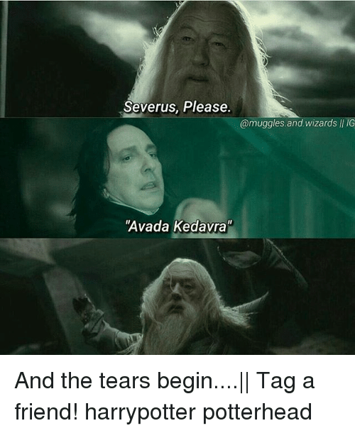 "Memes, Wizards, and Avada Kedavra: Severus, Please.  @muggles.and wizards II IG  Avada Kedavra"" And the tears begin....