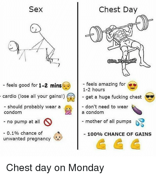Anaconda, Condom, and Fucking: Sex  Chest Day  - feels amazing for  1-2 hours  - get a huge fucking chest  - don't need to wear  a condom  - f  eels good for 1-2 mins  cardio (lose all your gains!)  - should probably wear a  condom  - no pump at all  -0.1% chance of  mother of all pumps  100% CHANCE OF GAINS  unwanted pregnancy Chest day on Monday