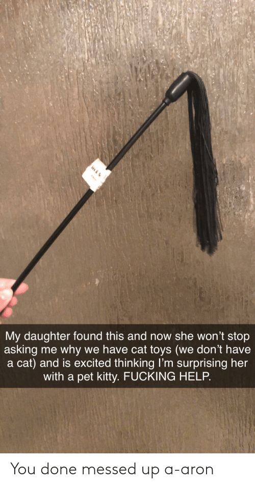 You Done Messed Up: Sex &  My daughter found this and now she won't stop  asking me why we have cat toys (we don't have  a cat) and is excited thinking Il'm surprising her  with a pet kitty. FUCKING HELP. You done messed up a-aron