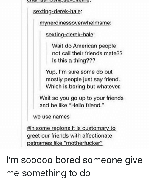 """Be Like, Bored, and Friends: sexting-derek-hale:  mynerdinessoverwhelmsme:  sexting-derek-hale:  Wait do American people  not call their friends mate??  Is this a thing???  Yup. I'm sure some do but  mostly people just say friend.  Which is boring but whatever.  Wait so you go up to your friends  and be like """"Hello friend.""""  we use names  #in some regions it is customary to  greet our friends with affectionate  petnames like """"motherfucker"""" I'm sooooo bored someone give me something to do"""