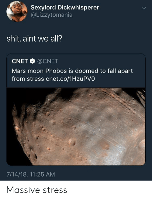 Cnet: Sexylord Dickwhisperer  @Lizzytomania  shit, aint we all?  CNET @CNET  Mars moon Phobos is doomed to fall apart  from stress cnet.co/1HzuPVO  7/14/18, 11:25 AM Massive stress