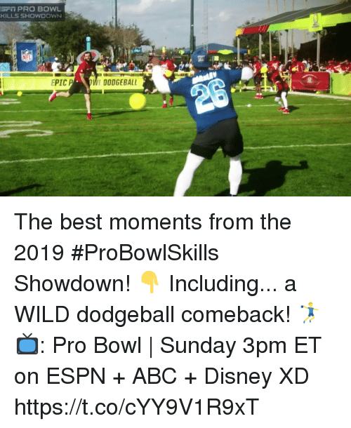 Dodgeball: SFi PRO BOWL  KILLS SHOWDOWN  EPICP  DODGEBALL The best moments from the 2019 #ProBowlSkills Showdown! 👇 Including... a WILD dodgeball comeback! 🤾‍♂️  📺: Pro Bowl | Sunday 3pm ET on ESPN + ABC + Disney XD https://t.co/cYY9V1R9xT