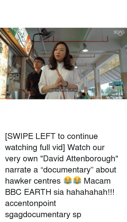 "Narrate: SGAG  areat and small [SWIPE LEFT to continue watching full vid] Watch our very own ""David Attenborough"" narrate a ""documentary"" about hawker centres 😂😂 Macam BBC EARTH sia hahahahah!!! accentonpoint sgagdocumentary sp"