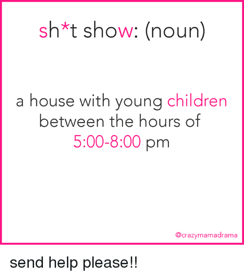 Help Please: sh*t show: (noun)  a house with young children  between the hours of  5:00-8:00 pm  @crazymamadrama send help please!!