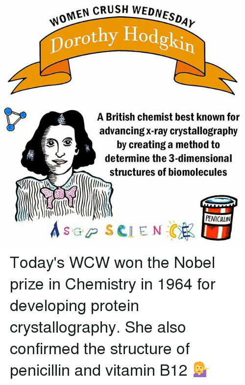 Crush, Memes, and Nobel Prize: SH WOMEN CRUSH WEDNESDAY  w  Dorothy Hodgkin  A British chemist best known for  advancing X-ray crystallography  by creating a method to  determine the 3-dimensional  structures of biomolecules  PENICILLIN  s GP SCIENCE Today's WCW won the Nobel prize in Chemistry in 1964 for developing protein crystallography. She also confirmed the structure of penicillin and vitamin B12 💁