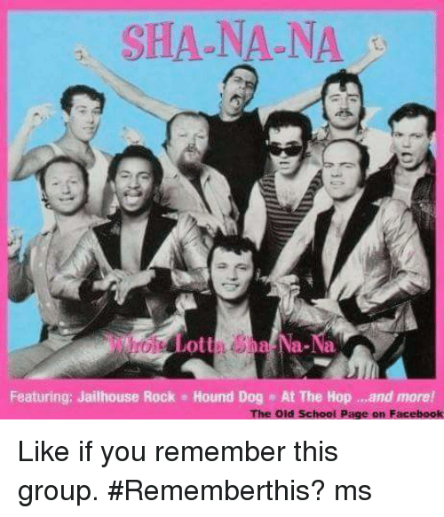 facebook likes: SHA NA NA  Featuring: Jailhouse Rock Hound Dog At The Hop and more!  The old school page on Facebook Like if you remember this group.  #Rememberthis?  ms