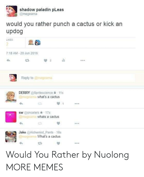 Paladin: shadow paladin pLeas  @mageama  would you rather punch a cactus or kick an  updog  LIKES  2  7:18 AM-20 Jun 2016  Reply to @mageama  DERRY @Spritescience 욜-11 s  what's a cactus  sw @oncelers 슐 17s  whats a cactus  Jake @Alchemist Pants-18s  What's a cactus Would You Rather by Nuolong MORE MEMES