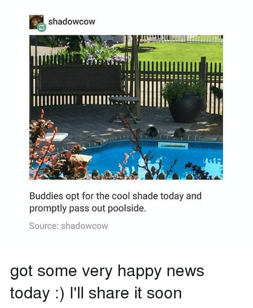 News Today: shadowcow  Buddies opt for the cool shade today and  promptly pass out poolside.  Source: shadowcow got some very happy news today :) I'll share it soon