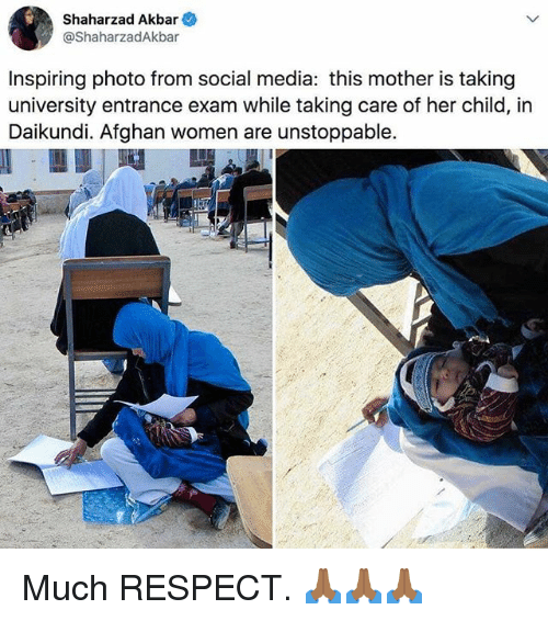 akbar: Shaharzad Akbar  @ShaharzadAkbar  Inspiring photo from social media: this mother is taking  university entrance exam while taking care of her child, in  Daikundi. Afghan women are unstoppable. Much RESPECT. 🙏🏾🙏🏾🙏🏾