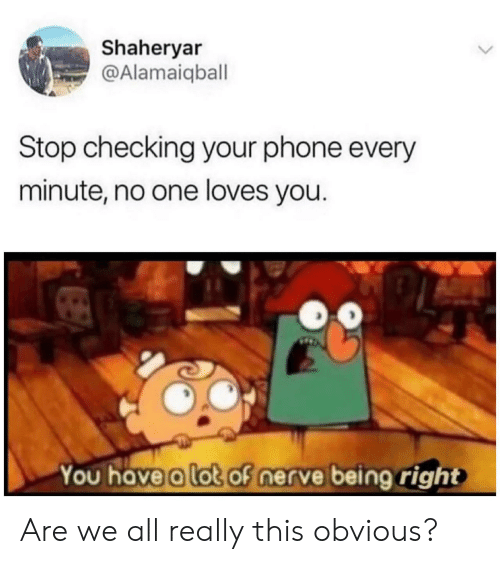 Nerve: Shaheryar  @Alamaiqball  Stop checking your phone every  minute, no one loves you.  You have a lot of nerve being right Are we all really this obvious?