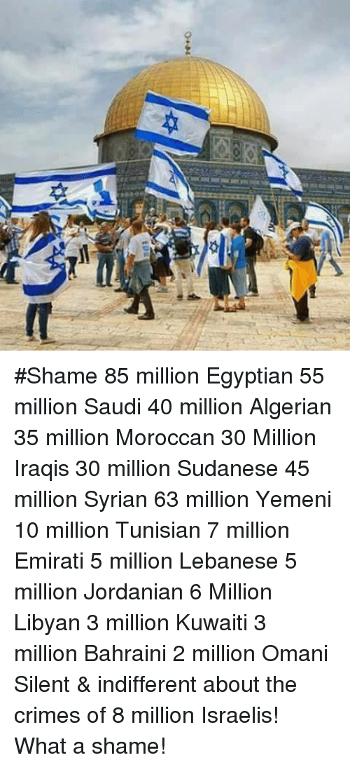 Lebanese: #Shame 85 million Egyptian 55 million Saudi 40 million Algerian 35 million Moroccan 30 Million Iraqis 30 million Sudanese 45 million Syrian 63 million Yemeni 10 million Tunisian 7 million Emirati 5 million Lebanese 5 million Jordanian 6 Million Libyan 3 million Kuwaiti 3 million Bahraini 2 million Omani Silent & indifferent about the crimes of 8 million Israelis! What a shame!