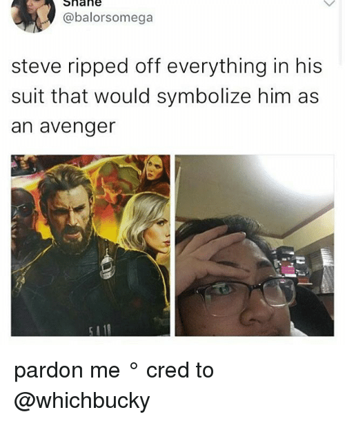 Memes, Shane, and 🤖: Shane  @balorsomega  steve ripped off everything in his  suit that would symbolize him as  an avenger pardon me ° 《cred to @whichbucky 》