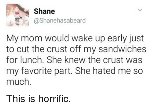 Funny, Shane, and Mom: Shane  , e.) @Shanehasabeard  My mom would wake up early just  to cut the crust off my sandwiches  for lunch. She knew the crust was  my favorite part. She hated me so  much. This is horrific.