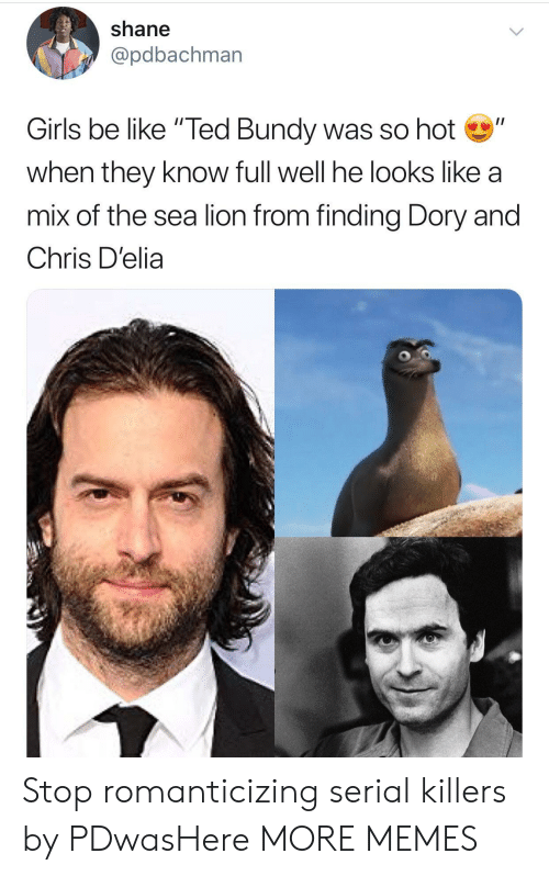 """serial killers: shane  @pdbachman  Girls be like """"Ted Bundy was so hot""""  when they know full well he looks like a  mix of the sea lion from finding Dory and  Chris D'elia Stop romanticizing serial killers by PDwasHere MORE MEMES"""