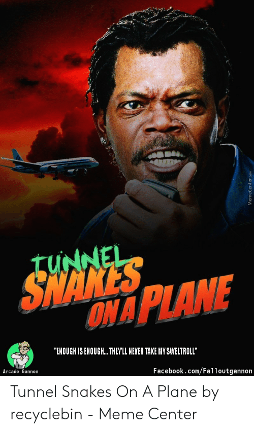 "Recyclebin: SHANES  ONA PLANE  TUNNEL  ""EHOUGH IS ENOUGH.. THEYLL HEVER TAKE HY SWEETROLL""  Arcade Gannon  Facebook.com/Falloutgannon  Memecenter.com Tunnel Snakes On A Plane by recyclebin - Meme Center"
