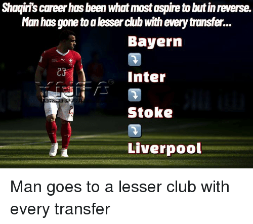 Club, Memes, and Liverpool F.C.: Shaqiri's career has been what most aspire to but in reverse.  Man has gone to a lesser club with every transfer.  Bayern  Inter  Stoke  Liverpool  23 Man goes to a lesser club with every transfer