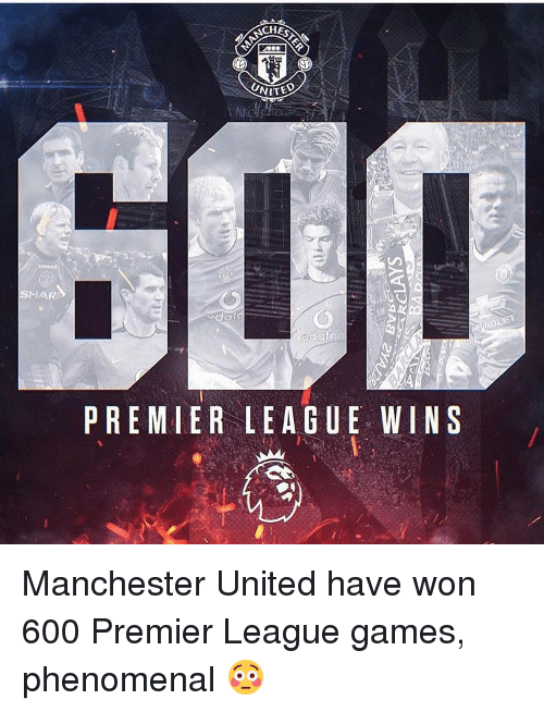 Memes, 🤖, and Won: SHAR  UNITE  PREMIER LEAGUE WINS Manchester United have won 600 Premier League games, phenomenal 😳