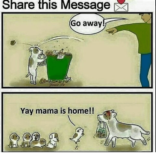 Indonesian (Language), Mama, and Yay: Share this Message  Go away  Yay mama is home!!