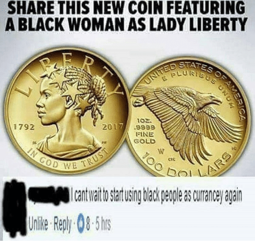 bol: SHARE THIS NEW COIN FEATURING  A BLACK WOMAN AS LADY LIBERTY  ptfis  LURTs  102.  1792  2017.9989  FINE  SOLD  ctc  이기 !  bol  to artusing back peple s curane agairn  Uile epy0-5