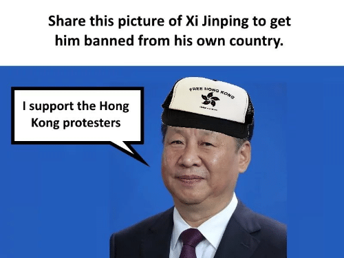 Protesters: Share this picture of Xi Jinping to get  him banned from his own country.  FREE HONG KONG  I support the Hong  Kong protesters