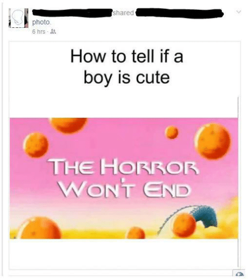 the horror: shared  photo.  6 hrs  How to tell if a  boy is cute  THE HORROR  WONT END