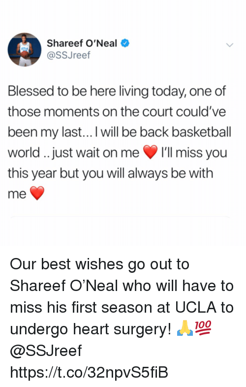 ucla: Shareef O'Neal  @SSJreef  Blessed to be here living today, one of  those moments on the court could've  been my last...I will be back basketball  world. just wait on me 'll miss you  this year but you will always be with  me Our best wishes go out to Shareef O'Neal who will have to miss his first season at UCLA to undergo heart surgery! 🙏💯 @SSJreef https://t.co/32npvS5fiB