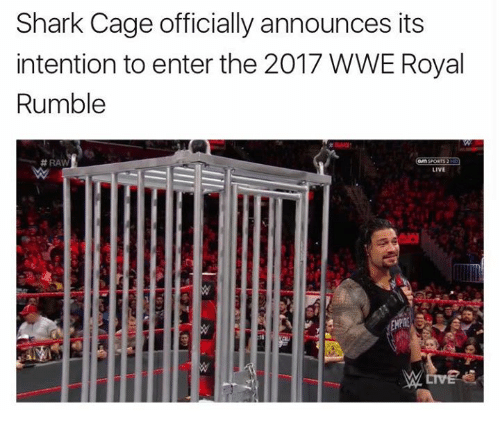 royal rumble: Shark Cage officially announces its  intention to enter the 2017 WWE Royal  Rumble  RAW  SPORTS 2  LIVE